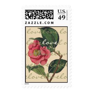 Franqueo botánico del amor de la flor de Camillia Estampillas