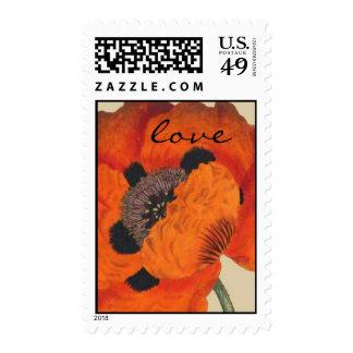 Franqueo botánico del amor de la flor de la amapol