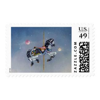 Franqueo - caballo gris del carrusel de la yegua timbres postales