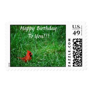 Franqueo cardinal rojo del feliz cumpleaños
