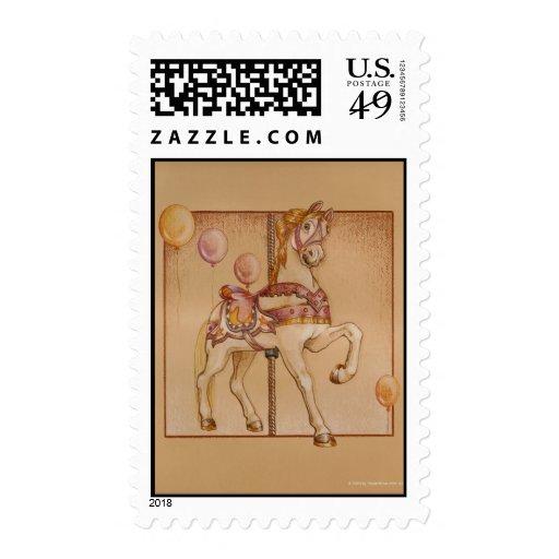 Franqueo - carrusel púrpura del potro timbres postales