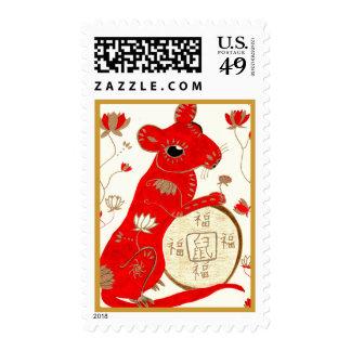 Franqueo chino de la astrología de la rata timbres postales