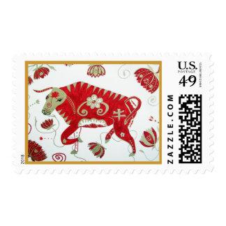 Franqueo chino de la astrología del buey timbres postales