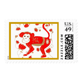 Franqueo chino de la astrología del mono timbre postal