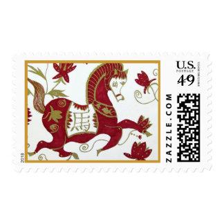 Franqueo chino del caballo del zodiaco del Año Nue