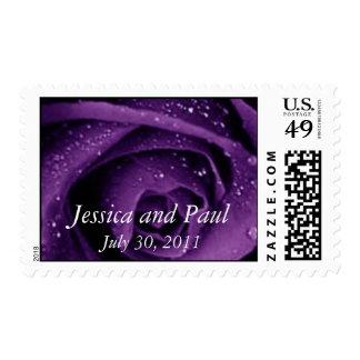 Franqueo color de rosa púrpura del boda estampilla
