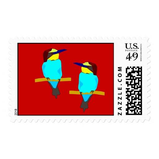 Franqueo colorido de dos pájaros