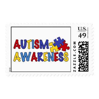 Franqueo colorido de la conciencia del autismo timbres postales