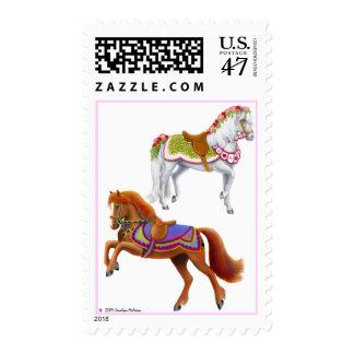Franqueo colorido de los caballos del circo timbres postales
