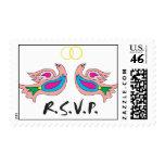 Franqueo colorido de los pájaros de RSVP