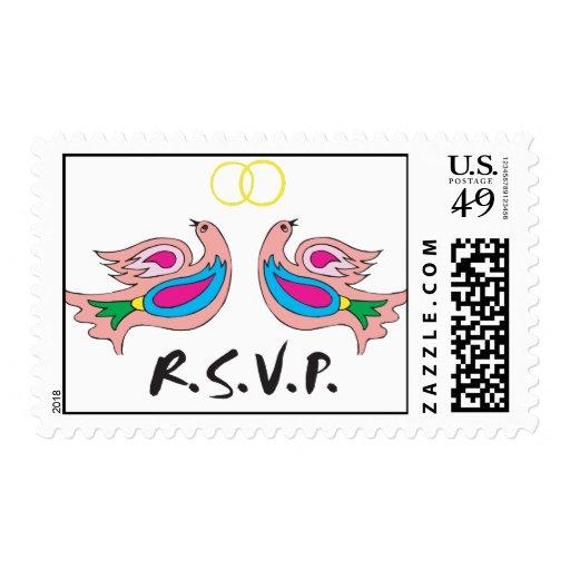 Franqueo colorido de los pájaros de RSVP Sello Postal