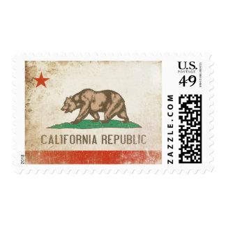 Franqueo con la bandera apenada de California Sellos