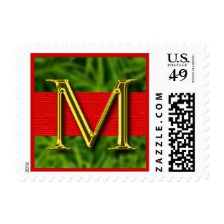 Franqueo con monograma del navidad de la letra M
