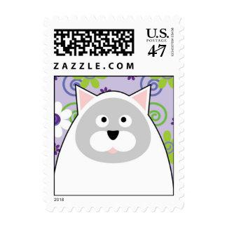Franqueo contento del gato timbre postal