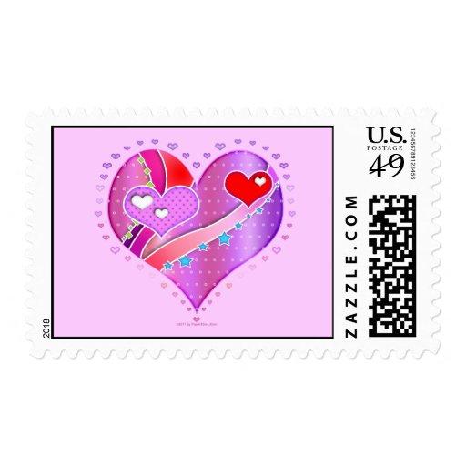 Franqueo - corazón rosado, tarjeta del día de San