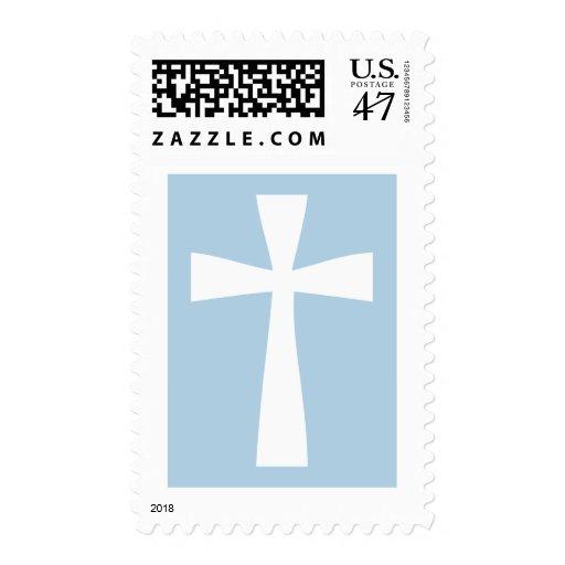 Franqueo cruzado azul sello postal