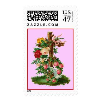Franqueo cruzado floral del vintage sellos