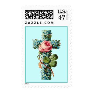 Franqueo cruzado floral del vintage timbre postal