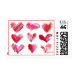 Franqueo de 9 corazones de la tarjeta del día de S
