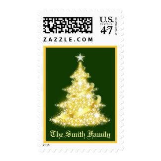 Franqueo de encargo del árbol de navidad - oro y estampilla
