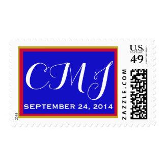Franqueo de encargo del monograma para la barra sello postal