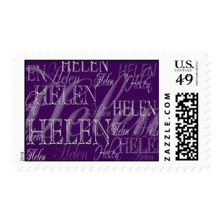 Franqueo de encargo púrpura con nombre