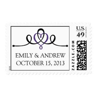 Franqueo de encargo púrpura del boda del corazón sellos postales