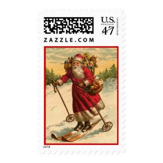 Franqueo de esquí de Santa del vintage Estampillas