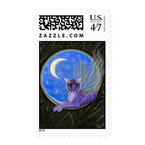Franqueo de hadas del arte del gato de la fantasía sello postal