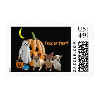 Franqueo de Halloween de la chihuahua Timbres Postales