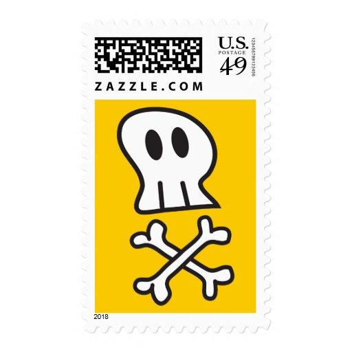 Franqueo de Halloween de los cráneos y de los hues