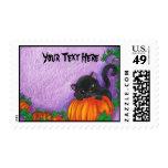 Franqueo de Halloween del gato negro