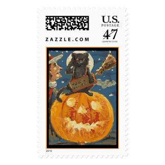 Franqueo de Halloween del vintage con, gato, Sellos
