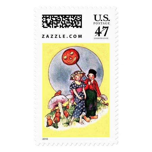 Franqueo de Halloween del vintage Sellos Postales