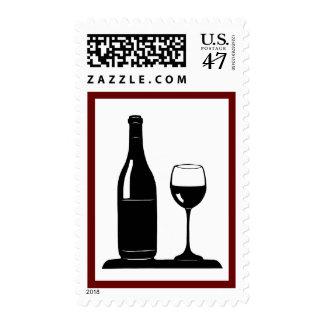 Franqueo de la botella y del vidrio de vino timbres postales