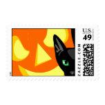 Franqueo de la calabaza del gato de Halloween Timbres Postales
