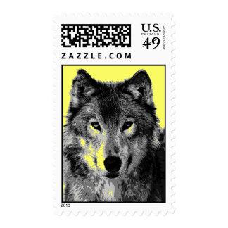 Franqueo de la cara del lobo del arte pop