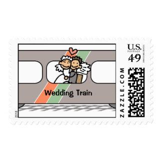 Franqueo de la celebración del tren del boda de estampillas