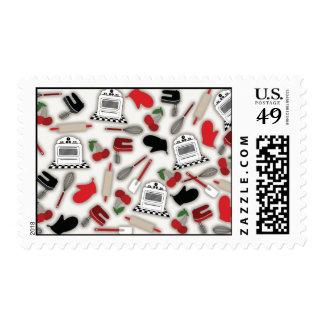 Franqueo de la cocina del encanto del vintage sellos