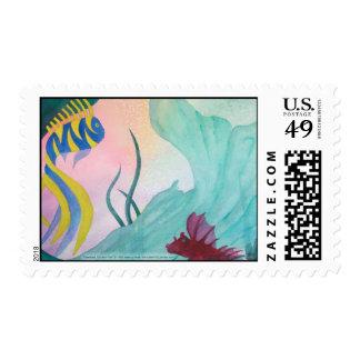 Franqueo de la cola y de los pescados de la sirena sello postal