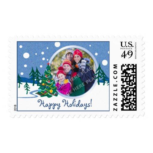Franqueo de la foto del árbol de la escena de la timbre postal
