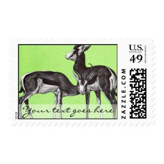 Franqueo de la gacela del vintage timbres postales