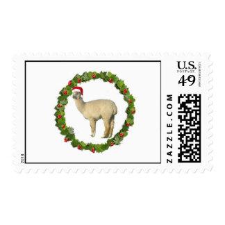 Franqueo de la guirnalda del navidad de la alpaca sello postal