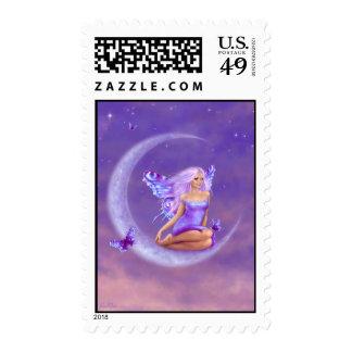 Franqueo de la hada de la luna de la lavanda timbre postal