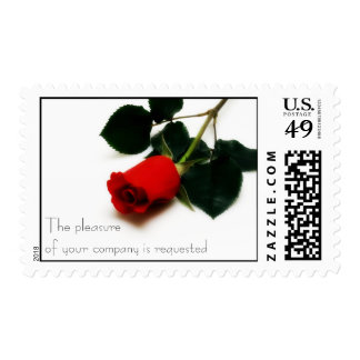 Franqueo de la invitación del rosa rojo sello
