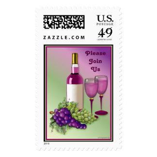 Franqueo de la invitación del vino y de las uvas