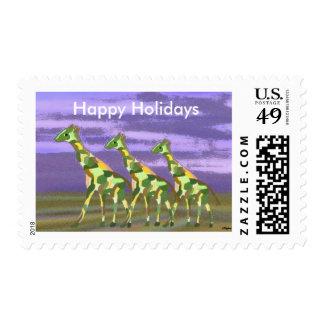 Franqueo de la jirafa buenas fiestas timbres postales