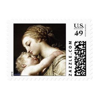 Franqueo de la madre y del niño del vintage timbres postales