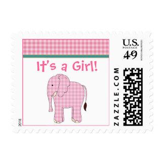 Franqueo de la niña del elefante rosado sello postal