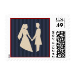 Franqueo de la postal del boda de novia y del novi